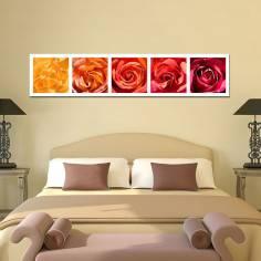 Τριαντάφυλλα παντού, πανοραμικός πίνακας σε καμβά με λουλούδια