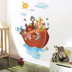 Κιβωτός του Νώε, αυτοκόλλητο τοίχου με την κιβωτό, ζωάκια , ήλιο και σύννεφα