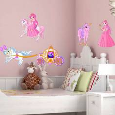 Αυτοκόλλητα τοίχου παιδικά, Πριγκίπισσα, άμαξα και μονόκερος