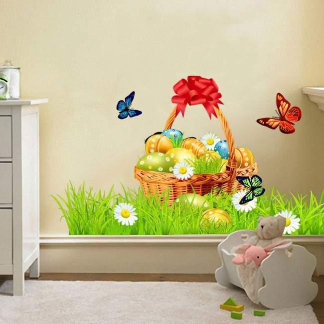 Πασχαλινό καλάθι ,αυτοκόλλητο τοίχου Πασχαλινό,διακοσμητικό