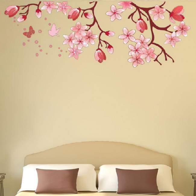 Αυτοκόλλητο τοίχου, ροζ λουλούδια και πεταλούδες, ανθισμένα κλαδιά. Blossomed branch