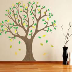 Αυτοκόλλητο τοίχου, δέντρο πράσινα, κίτρινα φύλλα. Lime tree