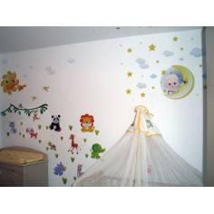 Αυτοκόλλητο τοίχου, Ζωάκια στον ήλιο και το φεγγάρι