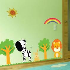 Zebra & Lion , παράσταση σε αυτοκόλλητα τοίχου